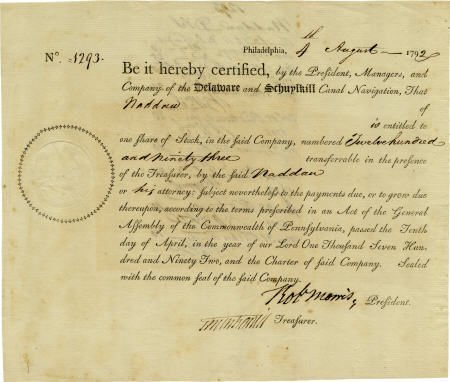 56021: Robert Morris Signed Delaware and Schuylkill