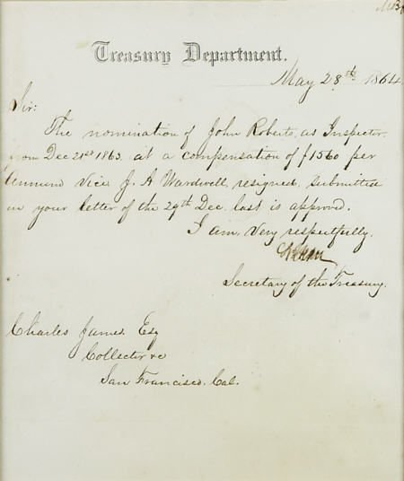 58014: Salmon P. Chase Manuscript Letter Signed