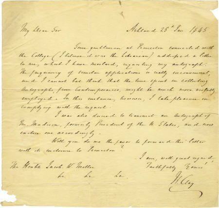 58015: Henry Clay Autograph Letter Signed.