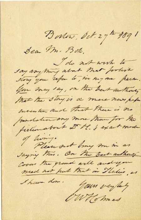 58021: Autograph Letter Signed by Oliver Wendell Holmes
