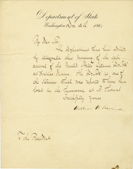 58022: Document Signed by Wm Seward as Secty of State