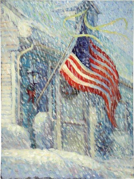66006: AMERICAN ILLUSTRATOR - American Flag in Snow