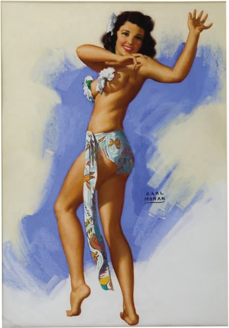 66244: EARL MORAN - Hawaiian Dancer Pin-Up Art