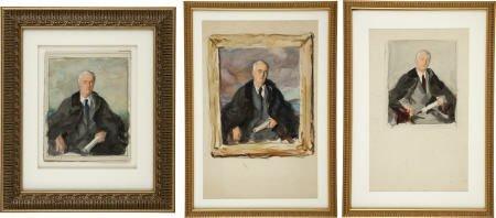 """53249: 3 Watercolor Studies FDR """"Unfinished Portrait"""""""