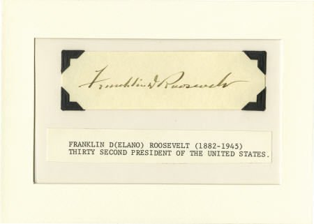 53002: Franklin D. Roosevelt: Clipped Signature.