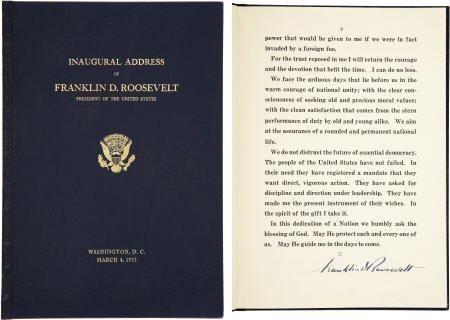 53009: FDR Signed Ltd Edition 1933 Inaugural Speech