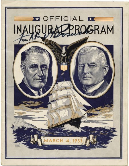 53010: FDR 1933 Inagural Program Signed on Cover