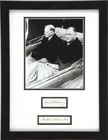 53012: FDR & Hoover: Signatures Matted with Photograph