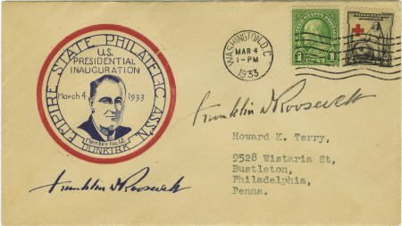 53013: Franklin D. Roosevelt: Inauguration Cover Signed