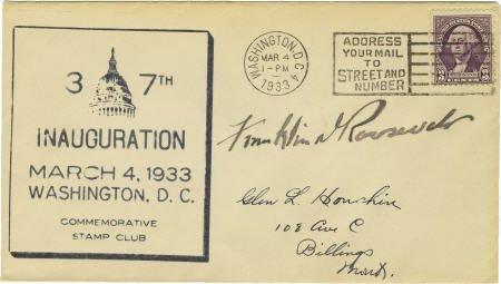 53015: Franklin D. Roosevelt: 1933 Postal Cover Signed