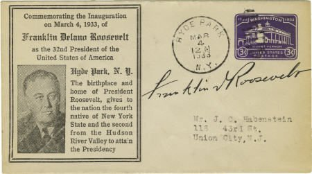 53016: Franklin D. Roosevelt Signed Inauguration Cover