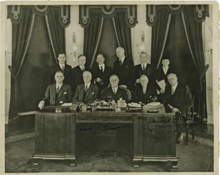 53017: FDR Cabinet Photo Signed as President