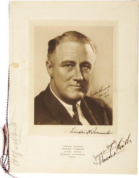 53018: FDR 1933 Dinner Program Signed as Pres-Elect