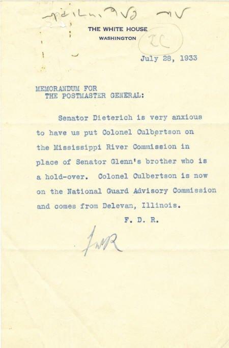 """53024: FDR 1933 Typed Memorandum w/ AES """"FDR"""""""
