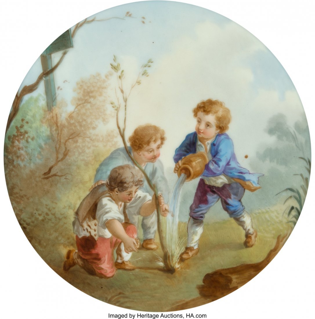 28084: A German Painted Porcelain Plaque, late 19th-ear