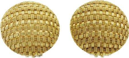 46002: Woven Gold Button Earrings, circa 1970