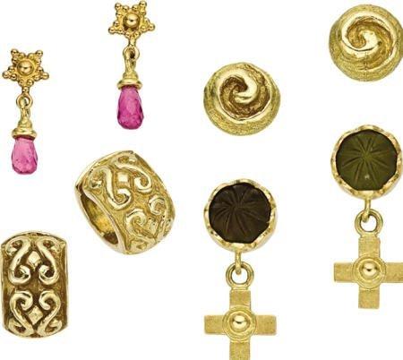 46008: Pink Tourmaline, Peridot, Gold Earring Lot