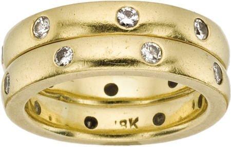 46010: Pair of Diamond Gold Eternity Bands Katy Briscoe