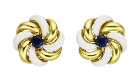 46011: Sapphire, Enamel, Gold Earrings