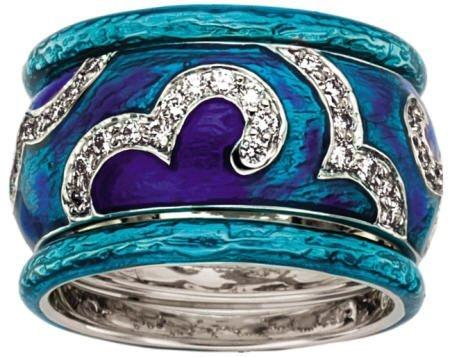 46016: Diamond, Enamel, White Gold Ring Set, Hidalgo