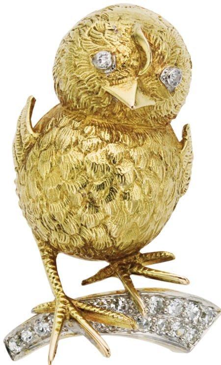 46019: Diamond, Gold, Bird on a Branch Brooch