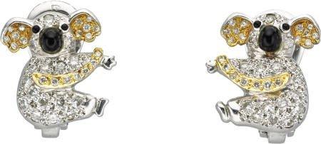 46020: Diamond, Onyx, Gold Koala Earrings