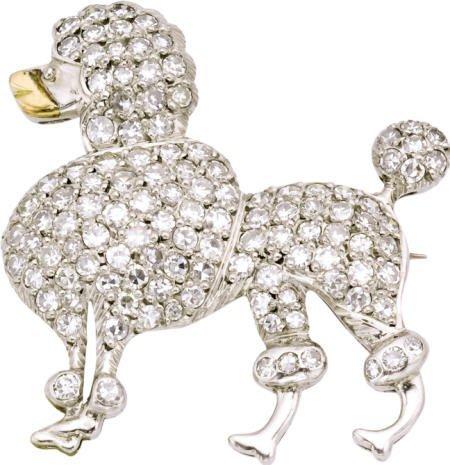 46022: Diamond, Platinum Poodle Brooch