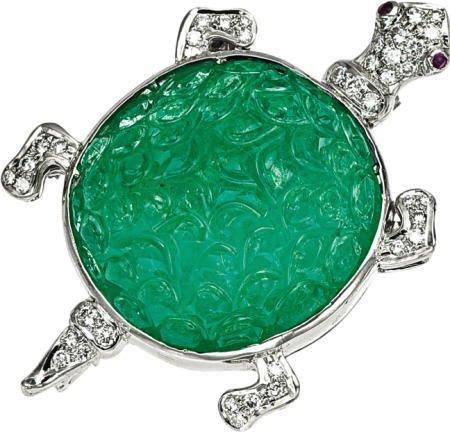 46023: Carved Emerald, Diamond, Ruby, Turtle Brooch