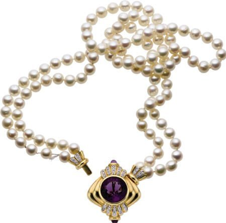 46316: Amethyst, Diamond, Cultured Pearl, Necklace