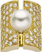 46327: South Sea Cultured Pearl, Diamond, Gold Ring