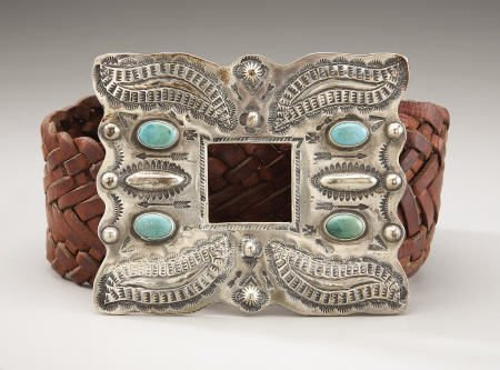 74007: A NAVAJO SILVER AND TURQUOISE BELT c.