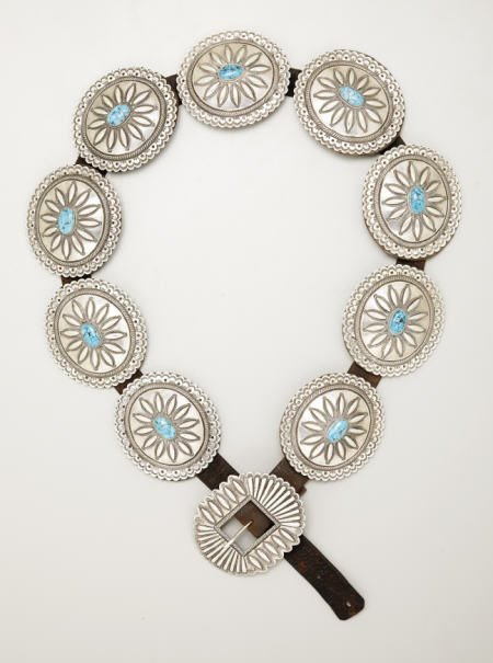 74008: A NAVAJO SILVER AND TURQUOISE BELT c.