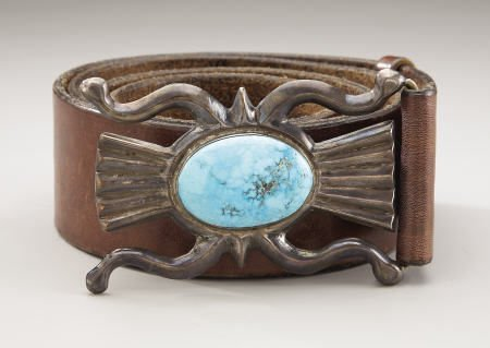 74009: A NAVAJO SILVER AND TURQUOISE BELT c.