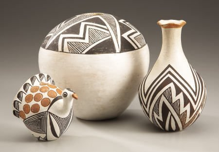 74021: THREE ACOMA POTTERY ITEMS Two by Lucy M. Lewis