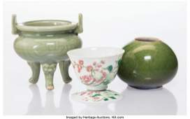 27051 A Group of Three Chinese Porcelain Table Article