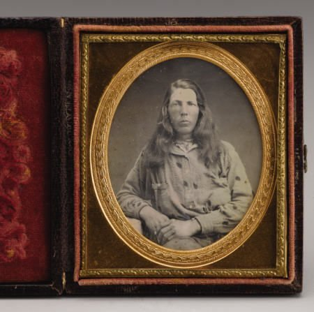 72006: Cased 6th Plate Dag of CA Gold Rush Woman