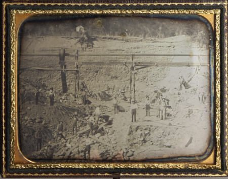 72011: Half Plate Dag of CA Gold Rush Mining Scene