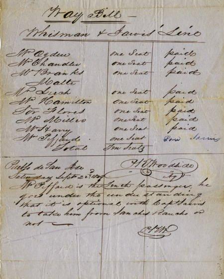 72020: San Jose, (CA) Early Stagecoach Waybill 1849