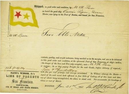 72021: 1853 San Francisco Ship Document Gold Rush