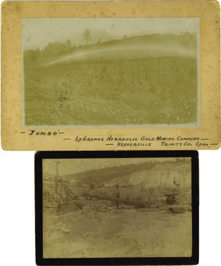 72022: Two Cabinet Card Photos Hydraulic Gold Mining