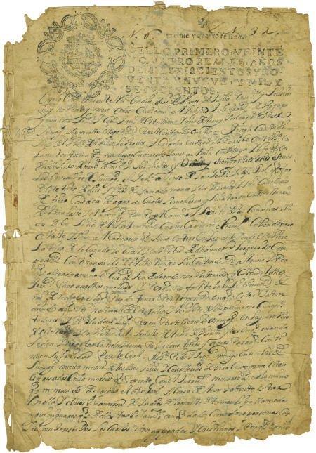 76001: Luis Garcia de Pruneda Early Land Grant Signed.