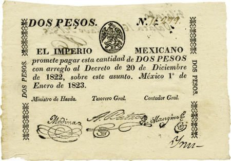 76021: Dos Pesos Printed Currency.