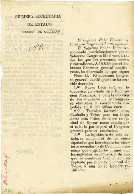 76024: Decree Forming Coahuila y Tejas Texas (1824)