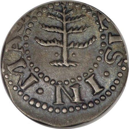 2: 1652 6PENCE Pine Tree Sixpence AU58 PCGS. CAC.