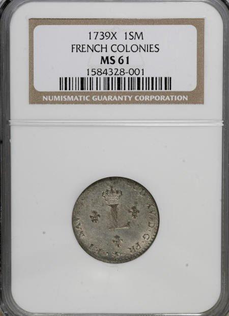 6: 1739-)(<SOU M French Colonies Sou Marque MS61
