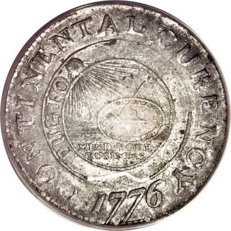 8: 1776 $1 Continental Dollar, CURENCY, Pewter AU55