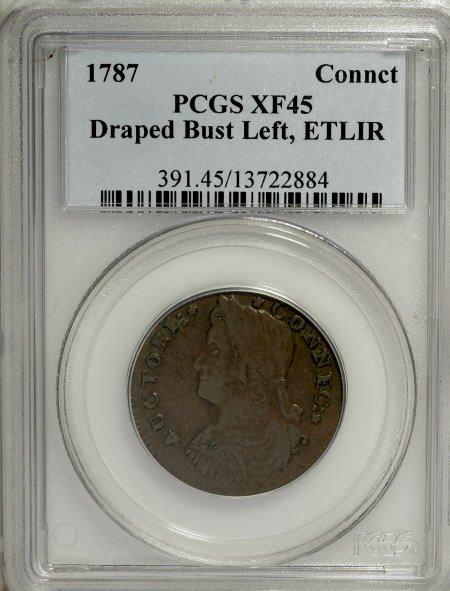 9: 1787 COPPER Connecticut Copper, ETLIR XF45 PCGS.