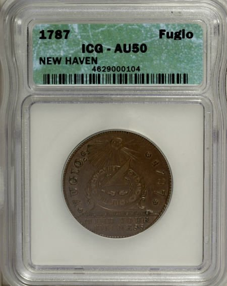 16: 1787 1C Fugio Cent, New Haven Restrike, Copper