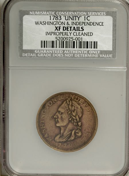 20: 1783 1C Washington Unity States Cent--Improperly