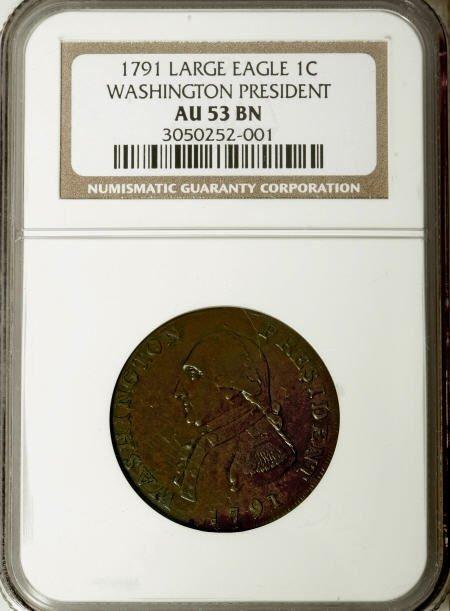 21: 1791 1C Washington Large Eagle Cent AU53 NGC.